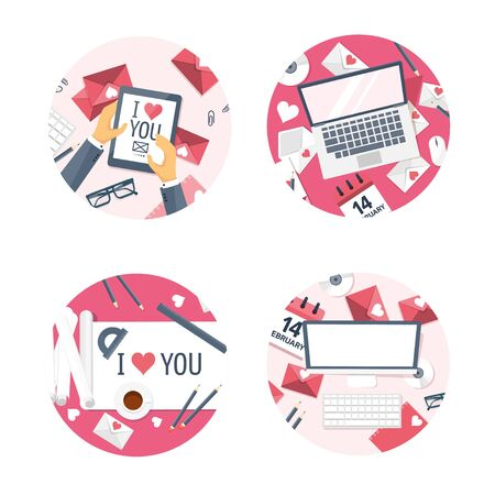 internet love: Vector illustration. Flat background with tablet, laptop, paper, envelope, computer, internet. Love, hearts. Valentines day. Be my valentine. 14 february.