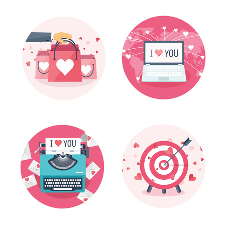14 of february: Vector illustration. Flat background with shopping bags, target, laptop, typewriter . Love, hearts. Valentines day. Be my valentine. 14 february. Illustration