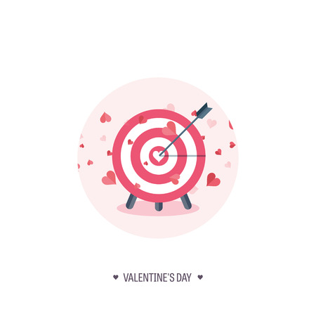 14 february: Vector illustration. Flat background with target. Love, hearts. Valentines day. Be my valentine. 14 february.