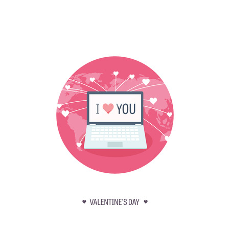 14 february: Vector illustration. Flat background with computer, laptop. Love, hearts. Valentines day. Be my valentine. 14 february.  Message.