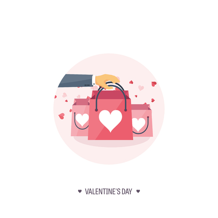 14 of february: Vector illustration. Flat background with shopping bags. Love, hearts. Valentines day. Be my valentine. 14 february. Illustration