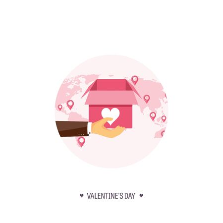 14 of february: Vector illustration. Flat background with box and hand. Love, hearts. Valentines day. Be my valentine. 14 february.  Message. Illustration