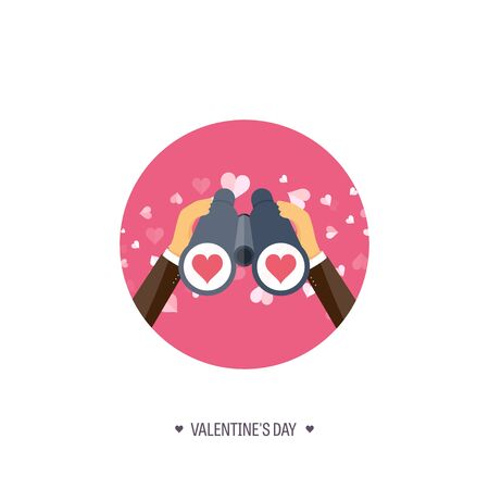 14 of february: Vector illustration. Flat background with binoculars. Love, hearts. Valentines day. Be my valentine. 14 february.