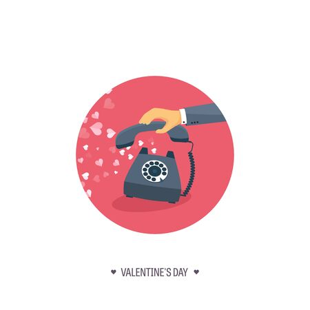 spiral cord: Vector illustration. Flat background with retro telephone. Love, hearts. Valentines day. Be my valentine. 14 february.  Message.