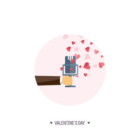 14 of february: Vector illustration. Flat musical background with microphone. Love, hearts. Valentines day. Be my valentine. 14 february.