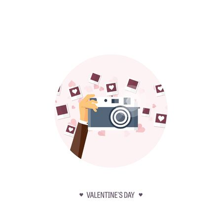 14 of february: Vector illustration. Flat background with photos. Love, hearts. Valentines day. Be my valentine. 14 february. Stock Photo
