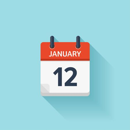 12: January 12. Vector flat daily calendar icon. Date and time, day, month. Holiday. Illustration