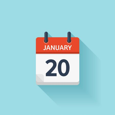 time of day: January 20. Vector flat daily calendar icon. Date and time, day, month. Holiday.