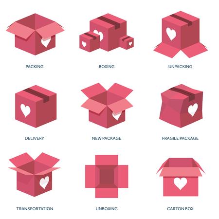 Vector illustratie. Vlakke achtergrond met doos. Liefde, harten. Valentijnsdag. Wees mijn Valentijn. 14 februari. Bericht.