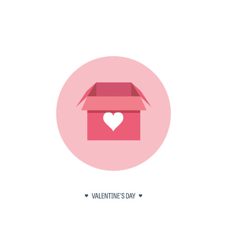 14 february: Vector illustration. Flat background with box. Love, hearts. Valentines day. Be my valentine. 14 february.  Message.
