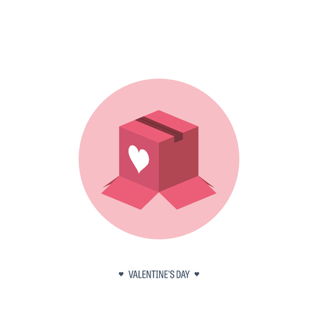 box love: Vector illustration. Flat background with box. Love, hearts. Valentines day. Be my valentine. 14 february.  Message.
