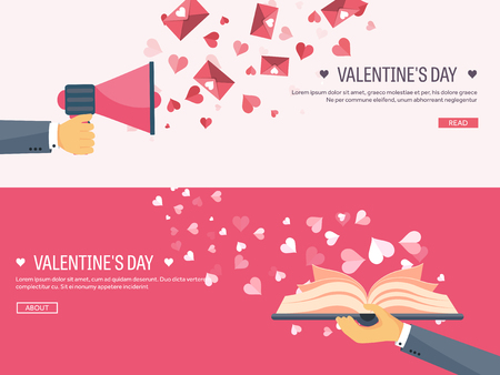 loudhailer: Vector illustration. Flat background with loudspeaker, hand and book. Love, hearts. Valentines day. Be my valentine. 14 february.  Message.