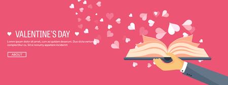 Ilustración del vector. de fondo plano con el libro. Amor, corazones. Día de San Valentín. Sé mi Valentín. 14 de febrero.