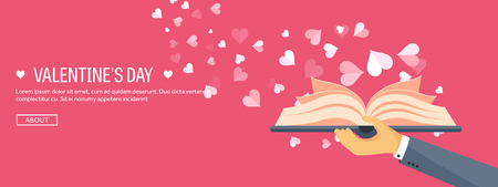 story: Vector illustration. Flat background with book. Love, hearts. Valentines day. Be my valentine. 14 february.