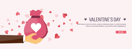 14 of february: Vector illustration. Flat background with bag. Love, hearts. Valentines day. Be my valentine. 14 february.  Message.