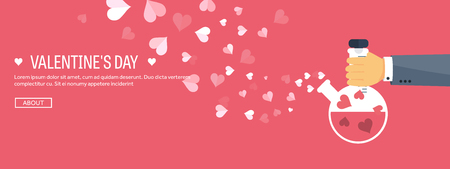 chemistry lab: Vector illustration. Flat background with potion. Love, hearts. Valentines day. Be my valentine. 14 february. Illustration