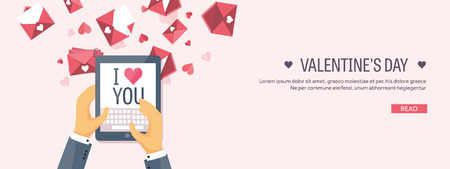 14 of february: Vector illustration. Flat background with tablet. Love, hearts. Valentines day. Be my valentine. 14 february.
