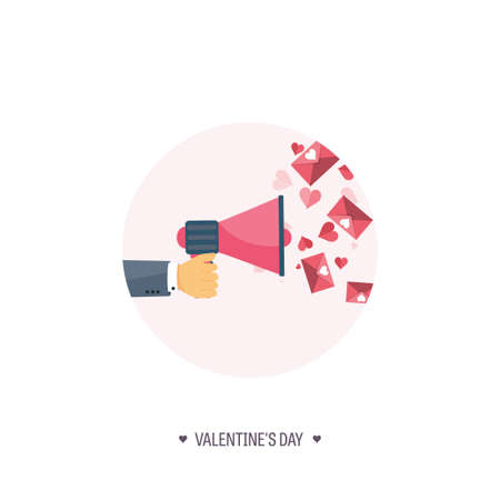 14 of february: Vector illustration. Flat background with loudspeaker. Love, hearts. Valentines day. Be my valentine. 14 february.  Message.
