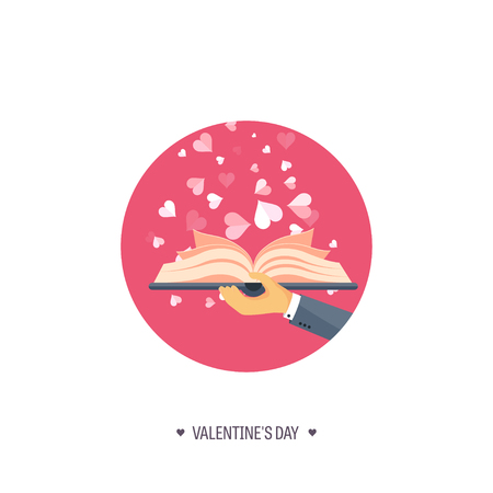 love story: Vector illustration. Flat background with book. Love, hearts. Valentines day. Be my valentine. 14 february.