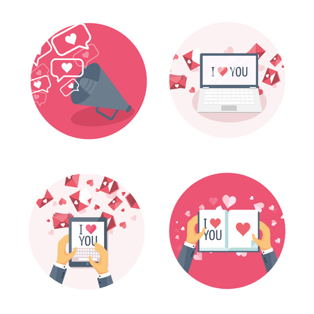 Vector illustration. Flat background with lodspeaker, laptop, tablet, book, hands. Love, hearts. Valentines day. Be my valentine. 14 february.  Message.