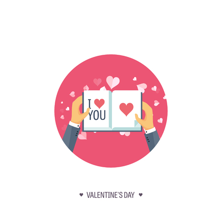 14 of february: Vector illustration. Flat background with book. Love, hearts. Valentines day. Be my valentine. 14 february.