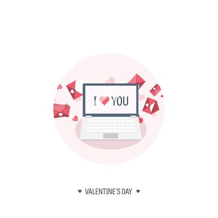 14 february: Vector illustration. Flat background with laptop. Love, hearts. Valentines day. Be my valentine. 14 february.