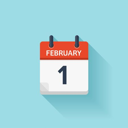 february 1: February 1. Vector flat daily calendar icon. Date and time, day, month. Holiday.