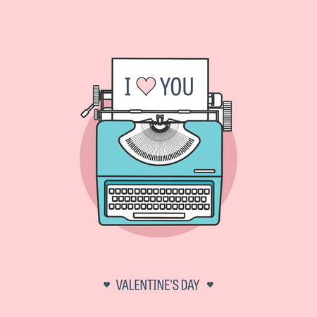 editorial design: Vector illustration. Flat background with typewriter. Love, hearts. Valentines day. Be my valentine. 14 february.