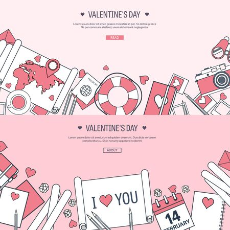 14 of february: Vector illustration. Flat travel background with map, photocamera,papers. Love, hearts. Valentines day. Be my valentine. 14 february.  Message.