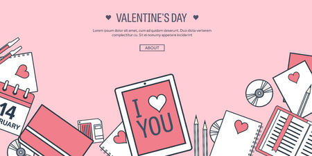 14 february: Vector illustration. Flat background with tablet. Love, hearts. Valentines day. Be my valentine. 14 february.