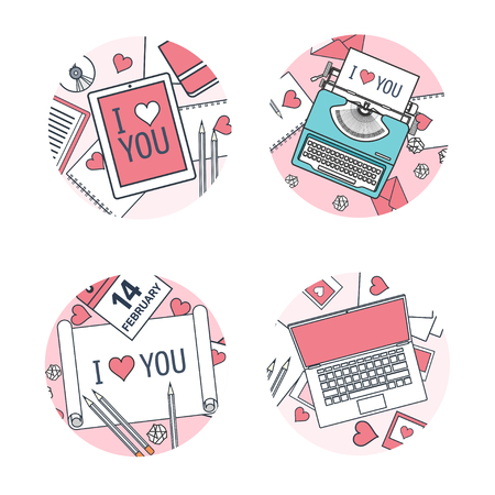 14 of february: Vector illustration. Flat background with typewriter, paper, tablet, laptop. Love, hearts. Valentines day. Be my valentine. 14 february.
