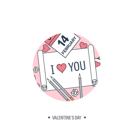 14 february: Vector illustration. Flat background with paper, calendar. Love, hearts. Valentines day. Be my valentine. 14 february.
