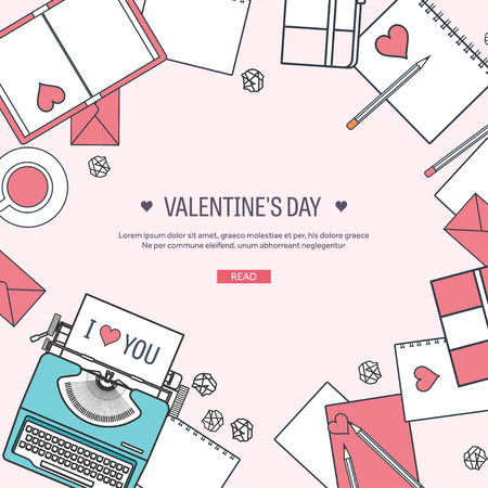 14 february: Vector illustration. Flat background with typewriter. Love, hearts. Valentines day. Be my valentine. 14 february.