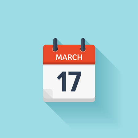 march 17: March 17. Vector flat daily calendar icon. Date and time, day, month. Holiday.