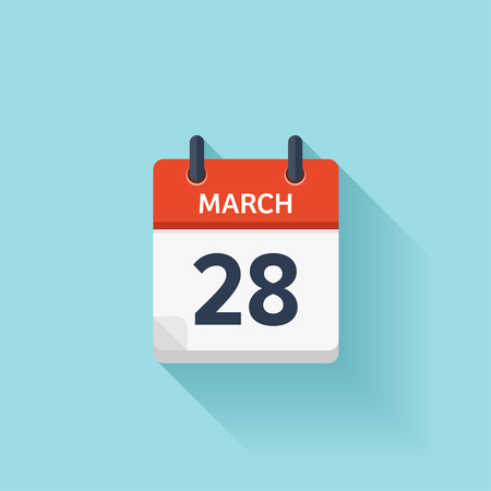 time of the day: March 28. Vector flat daily calendar icon. Date and time, day, month. Holiday.