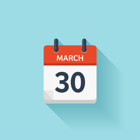 computer clipart: March 30. Vector flat daily calendar icon. Date and time, day, month. Holiday. Illustration