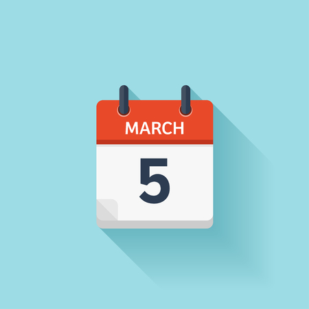 time of day: March 5. Vector flat daily calendar icon. Date and time, day, month. Holiday.