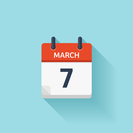 time of the day: March 7. Vector flat daily calendar icon. Date and time, day, month. Holiday. Illustration