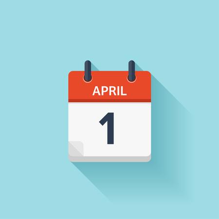 kalendarz: Kwiecień 1. Wektor płaskim codziennie ikonę Kalendarz. Data i godzina, dzień, miesiąc. Wakacje.