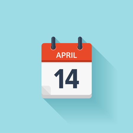 time of the day: April 14. Vector flat daily calendar icon. Date and time, day, month. Holiday. Illustration