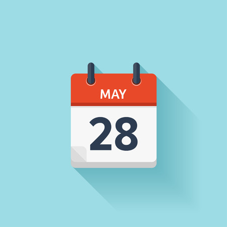May  28. Vector flat daily calendar icon. Date and time, day, month. Holiday.