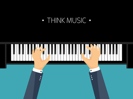 hands on keyboard: Vector illustration. Musical flat background. Piano key, keyboard. Melody. Instrument. Hands. Illustration