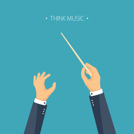 maestro: Vector illustration. Flat background. orchestra conductor. Music. Hands.