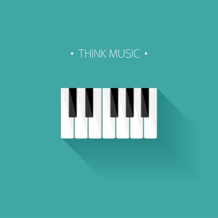 Vector illustration. Musical flat background. Piano key, keyboard. Melody. Instrument. Illustration