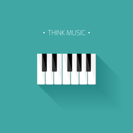 Vector illustration. Musical flat background. Piano key, keyboard. Melody. Instrument. Ilustração