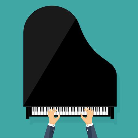 hand key: Vector illustration. Musical flat background. Piano key, keyboard. Melody. Instrument. Hands. Illustration