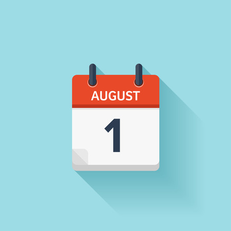 time of the day: August 1. Vector flat daily calendar icon. Date and time, day, month. Holiday.