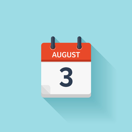 august: August 3. Vector flat daily calendar icon. Date and time, day, month. Holiday. Illustration