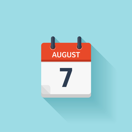 schedule appointment: August 7. Vector flat daily calendar icon. Date and time, day, month. Holiday. Illustration