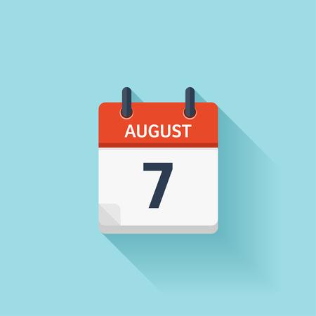 kalendarium: Sierpień 7. Wektor płaskim codziennie ikonę Kalendarz. Data i godzina, dzień, miesiąc. Wakacje. Ilustracja